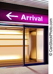 informazioni, aeroporto, moderno, signage