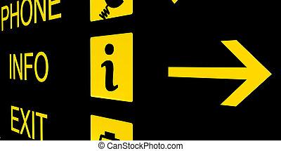 informazioni, aeroporto, nero, segno giallo