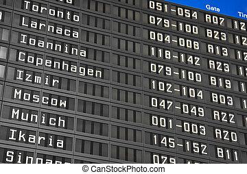 informazioni, aeroporto, volo, asse