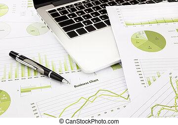 informazioni, affari, laptop, grafici, penna, verde, tabelle