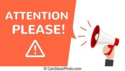 informazioni, announcement., manifesto, attenzione, favore, allarme, vettore, megafono, importante