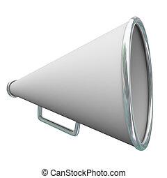 informazioni, annuncio, comunicazione, azione, bullhorn, messaggio, megafono, 3d