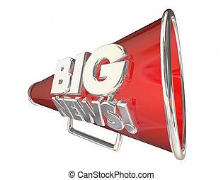 informazioni, annuncio, grande, animazione, bullhorn, notizie, megafono, 3d