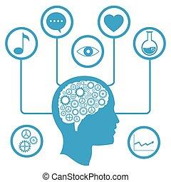 informazioni, cervello, ingranaggio capo, media