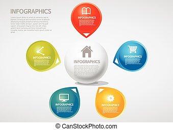 informazioni, cinque, sezione, -, grafica