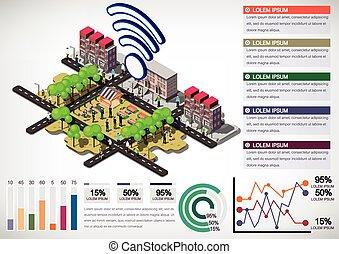 informazioni, città, concetto, urbano, illustrazione, grafico