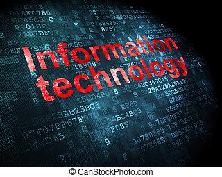 informazioni, concept:, pixelated, parole, tecnologia informatica, su, sfondo digitale, 3d, render