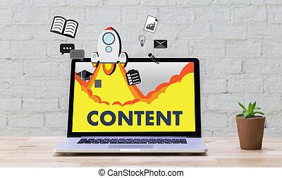 informazioni, concetto, pubblicazione, media, contenuto,...