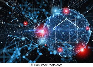 informazioni, concetto, scudo, web, personale, sfera, and., protegge, attack., internet, sicurezza casa, firewall, rete