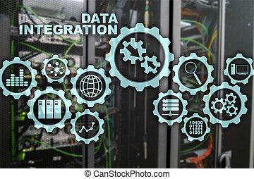 informazioni, concetto, stanza, tecnologia affari, integrazione, server, fondo, dati
