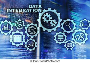 informazioni, concetto, stanza, tecnologia affari, integrazione, server, fondo., dati