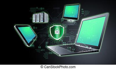 informazioni, concetto, tecnologia, assicurare, internet