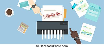 informazioni, confidenziale, protezione, ufficio, privato, carta, documento, trinciatrice