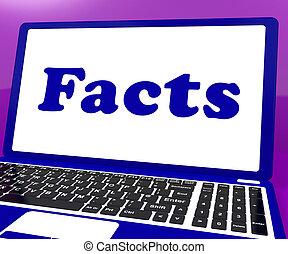 informazioni, conoscenza, laptop, fatti, vero, mostra