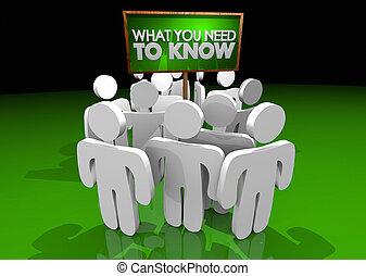 informazioni, cosa, illustrazione, segno, importante, sapere, bisogno, lei, 3d