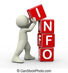 informazioni, cubi, collocazione, 3d, uomo