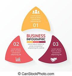 informazioni, diagramma, concetto, triangolo, processes., affari, parti, infographic, opzioni, frecce, grafico, chart., presentazione, 3, grafico, vettore, passi, cerchio, dati, template., ciclo