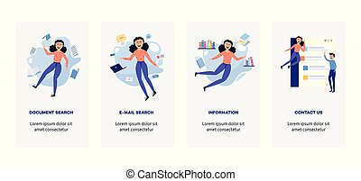 informazioni, donna, dintorni, volare, -, ambiente, fonti, set, caratteri, bandiere