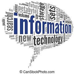 informazioni, etichetta, tecnologia, nuvola