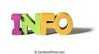 informazioni, fatto, parola, wood., variopinto