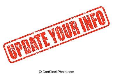 informazioni, francobollo, testo, aggiornamento, tuo, rosso