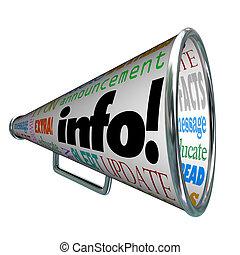 informazioni, informazioni, aggiornamento, allarme, bullhorn...