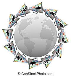 informazioni, informazioni, condivisione, intorno, catena, molti, bullhorns, megafoni, aumento, spalmare, comunicazione, notizie, o, mondo