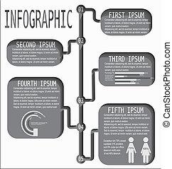 informazioni, linea, tempo, grafica