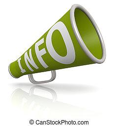informazioni, megafono, verde