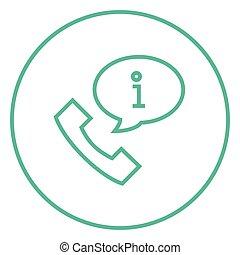 informazioni, microtelefono, icona, linea, segno