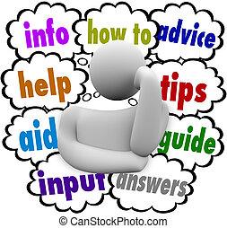 informazioni, nubi, aiuto, consiglio, pensiero, come, pensatore, aiuto