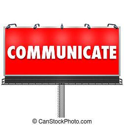 informazioni, parola, azione, comunicare, grande, tabellone