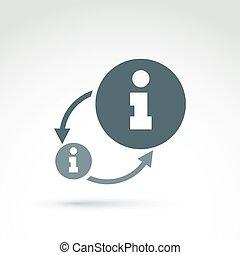 informazioni, raccolta, e, scambio, tema, icona, vettore,...