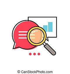 informazioni, ricerca, dati, optimization, analytics, vettore, analizzare, icona, statistico