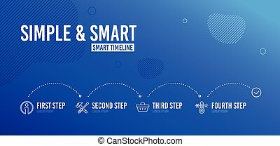 informazioni, riparazione, attrezzo, shopping, icone, set., vendita, offer., cacciavite, vettore, termometro, cesto, martello, segno., informazioni