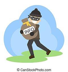 informazioni, rubato, bag.