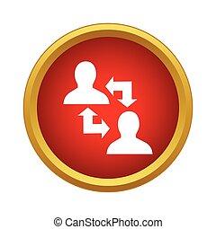informazioni, scambio, persone, due, fra, icona