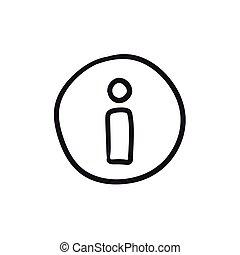 informazioni, schizzo, icon., segno