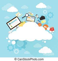 informazioni, set, calcolare, tecnologia, magazzino, internet, congegno, dati, nuvola