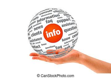 informazioni, sfera, 3d, tenendo mano