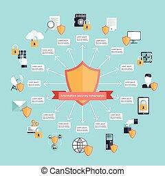 informazioni, sicurezza, infographic