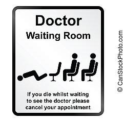 informazioni, silicio, dottori, sala d'attesa
