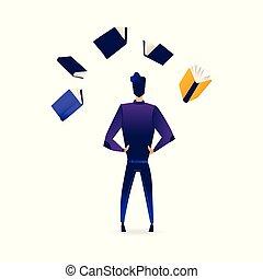 informazioni, sources., leva piedi, circondato, giovane, indietro, libri, uomo