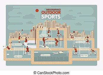 informazioni, sport, esterno, grafica