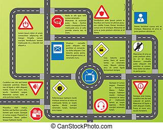 informazioni, strade, elegante, grafico, segni