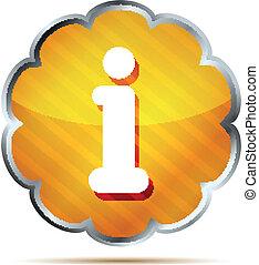 informazioni, strisce, icona, giallo, bottone