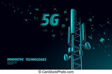 informazioni, telecomunicazione, antenna, mobile, globale, illustrazione, polygonal, collegamento, vettore, disegno, torre, base, transmitter., stazione, 5g, cellulare, receiver., radio, 3d