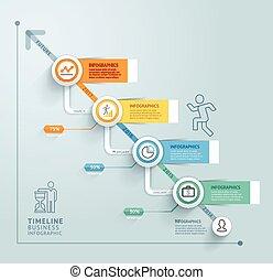 informazioni, timeline, grafico, affari, sagoma