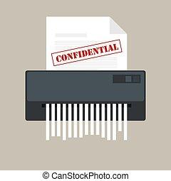 informazioni, ufficio, confidenziale, privato, carta, protezione, icona, documento, trinciatrice