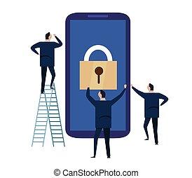 informazioni, usato, persone affari, personale, grande, concept., security., cyber, lucchetto, illustrazione, mobile, congegno, protezione, sicurezza, dati, schermo, smartphone., telefono